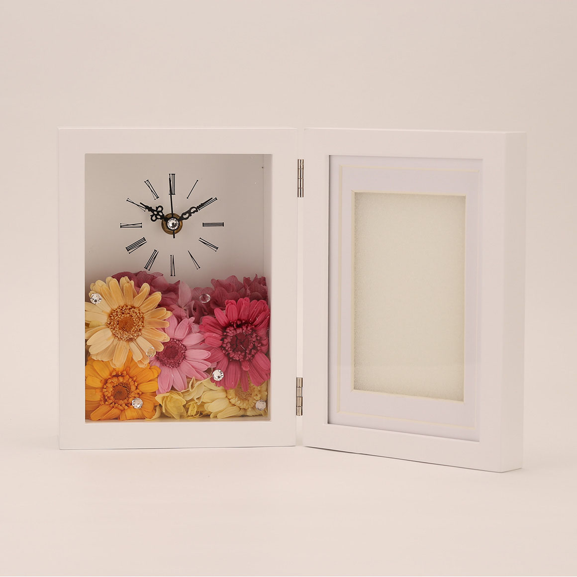 PICTURE FRAME white時計付写真立て(ホワイト)