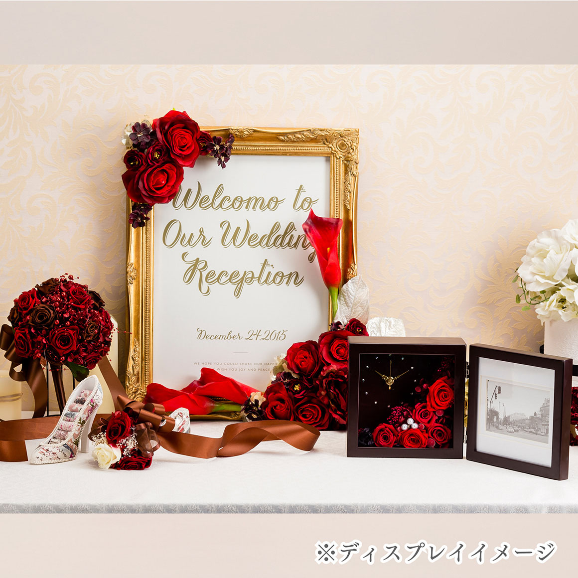 PICTURE FRAME brown時計付写真立て(ブラウン)