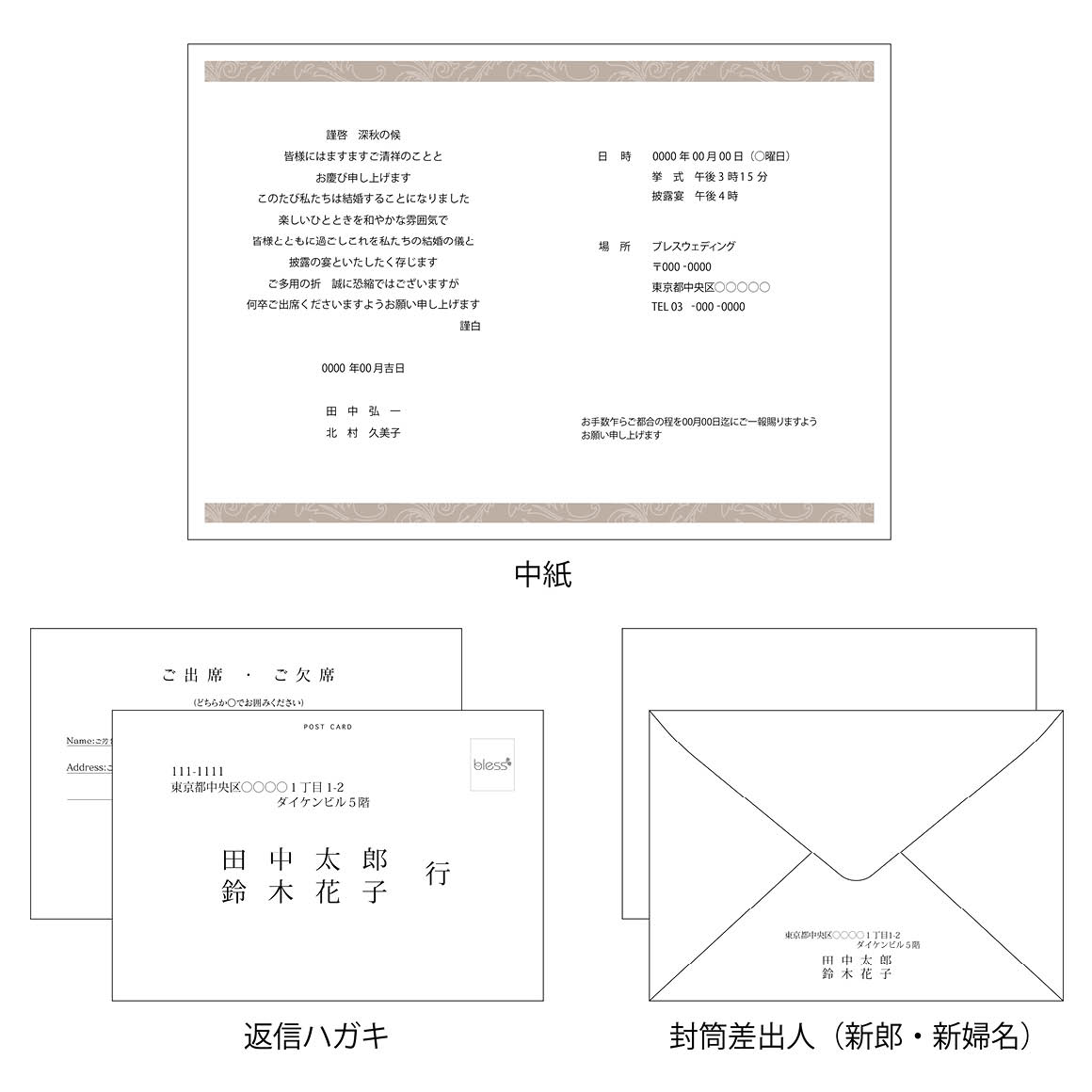 NET Invitation PrintPDFデータ入稿 招待状3点
